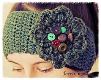 Crochet Flower Headband boho headwrap earwarmer - adult size - green