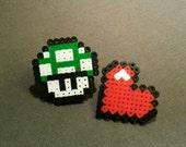 Video Game Pixel Pins, Mushroom or Heart