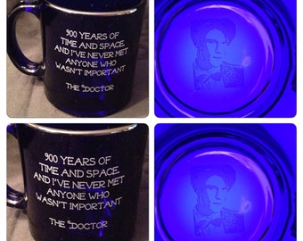 900 years Quote The Eleventh Doctor Who themed Tardis Blue Glass Coffee Tea Mug
