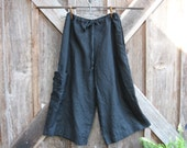 linen pant in black with over sized pocket with rose ready to ship