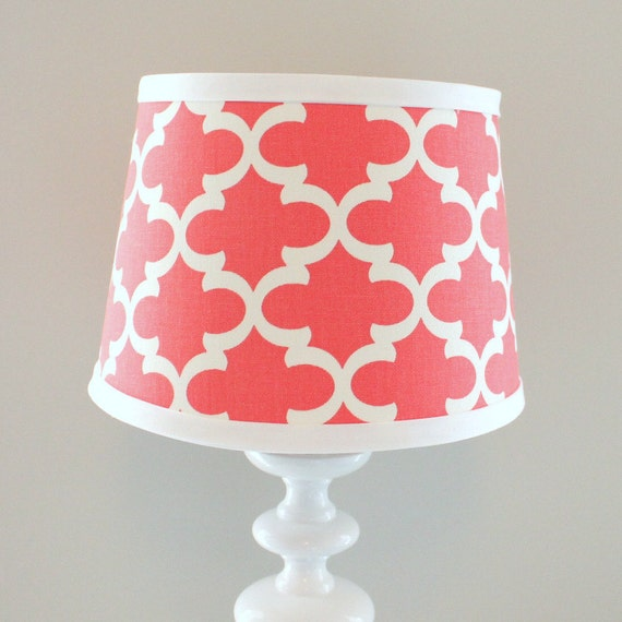 small white and coral print lamp shade other colors available. Black Bedroom Furniture Sets. Home Design Ideas