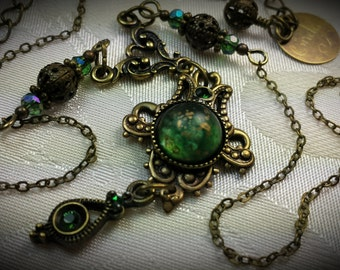 Forest Sage Green Frosted Drop Steampunk Choker Necklace Antiqued Bronze Filigree Titanic Tempations Vintage Victorian Bridal Style Jewelry