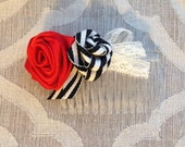 Ribbon Rose Hair Comb - Red Black White Stripes Lace