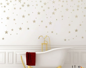 Silver Stars Wall Decals for Outer Space Nursery Decor - Silver Wall Stickers - Star Stickers for Walls -WBSTRm