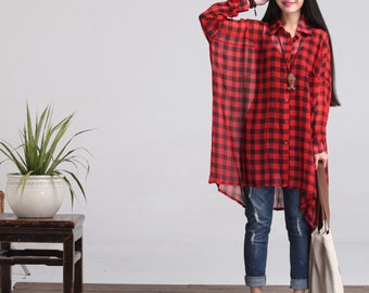 Casual Loose Fitting Long Sleeved Blouse Bat Sleeved - Red Check- Women Blouse SY005