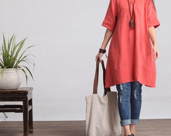 Round NeckMaxi Dress (C)- Summer Dress in Orange- Linen Sundress for Women-Short Sleeved (R)