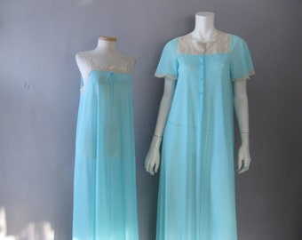 70s Nightgown Peignoir Set - 1970s  Lace Lingerie - Olga Aqua Robe and Gown