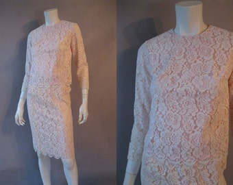 1960s Suit Set - Pink Lace 2 Piece Outfit - Cropped Top - A Line Skirt - Lace Wedding Suit - Wedding Guest