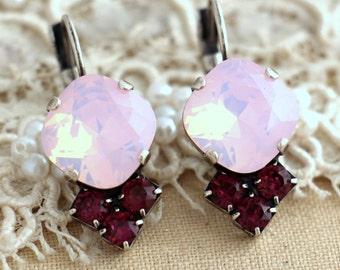 Opal Pink Purple Drop earrings, Opal earrings, Swarovski pink drop earrings, Silver rhinestone earrings - oxidized silver plated earrings