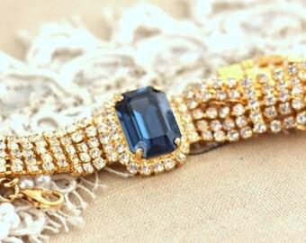 Blue crystal bracelet, Blue navy Swarovski luxuries estate Bracelet, Dark blue Crystal unique bracelet, Bridal bracelet, Gold Plated.