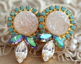 Druzy Earrings,Druzy Stud Earrings, Swarovski earrings, swarovski Druzy stud earrings,Turquoise stud earrings, gift for her,Gold studs