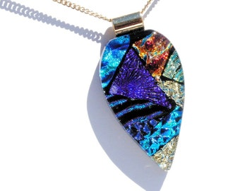 Dichroic Fused Glass Pendant, Dichroic Glass Pendant, Fused Glass Jewelry - Abstract, Fall Summer, Rich Colors, Textures (Item #10700-P)