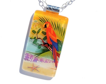 LARGE Dichroic Fused Glass Pendant, Fused Glass Jewelry, Nature, Macaw, Parrot,  Beach, Sea, Tropical Colorful (Item 10690-P)