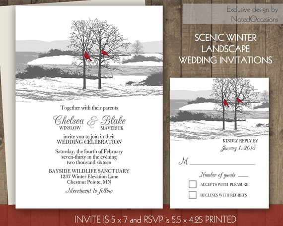 Rustic Winter Wedding Invitations: Winter Wedding Invitation Set Printable Rustic By