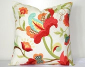 Red Floral on White Richloom Cotton, 18 x 18 inch Throw Pillow, Accent Pillow, Cushion Cover