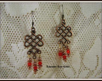 Celtic Knot Earrings with Swarovski Crystals and Copper