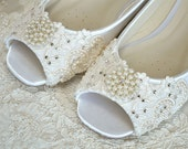 Wedding shoes Flat Peep Toe Wedding Shoes , Lace Wedding Shoes, Wedding Shoes Wedding Bridal Lace Shoes, Bridal Wedding Flat Bridal Shoes.