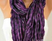 Black & Purple Plaid Scarf Fringe Scarf Christmas Winter Cotton Tartan Scarf Shawl Scarf Cowl Scarf Gift Ideas Women Fashion Accessories