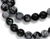 Snowflake Obsidian Beads - 6mm Round - Half Strand