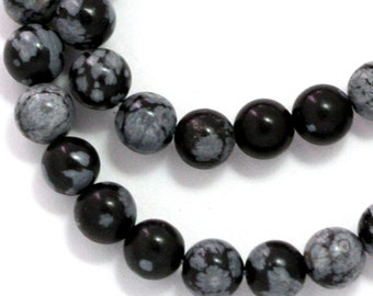 Snowflake Obsidian Beads - 6mm Round - Half Strand