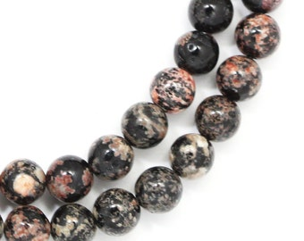 Red Snowflake Obsidian Beads - 6mm Round