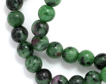 Ruby Zoisite Beads - 6mm Round