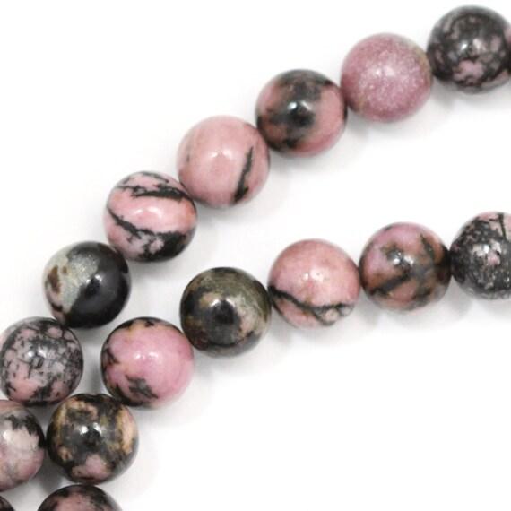Rhodonite (with Matrix) Beads - 8mm Round - Full Strand
