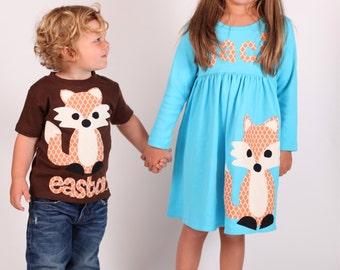 Fox Dress Shirt Set, Brother Sister Sibling Set, Fox Dress, Fox Shirt, Matching Outfits, Fall Outfit