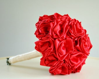 Red Bouquet, Hand Sewn Satin Roses Bouquet