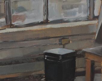 Original Oil Painting - Maryland Institute (MICA) Studio Classroom Window and Heater