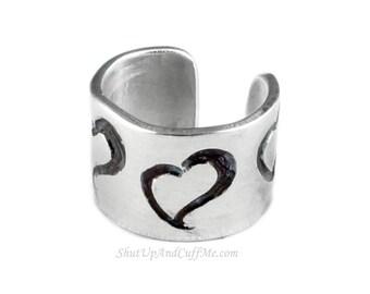 Swirly Heart Ear Cuff - Aluminum Stamped Ear Cuff