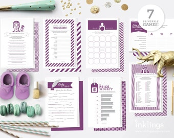 Printable Baby Shower Game Bundle // 7 Games in Rich Purple