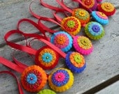 Bright and colorful felt christmas ornaments - set of 15