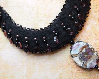 Felted Beaded Necklace Amethyst Flower