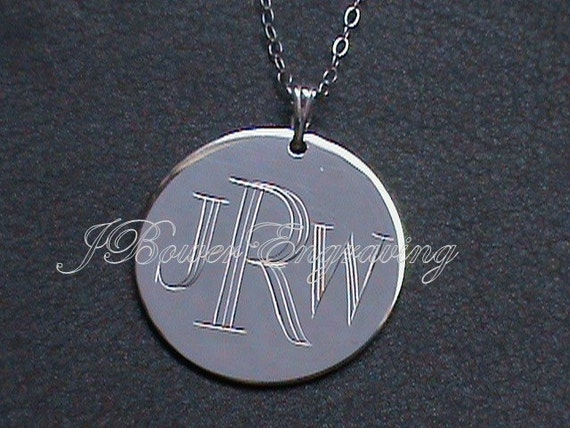 Modern Monogram Personalized Pendant  - Hand Engraved - Three Initials - Block Font - One Inch Round Sterling Silver WITH CHAIN