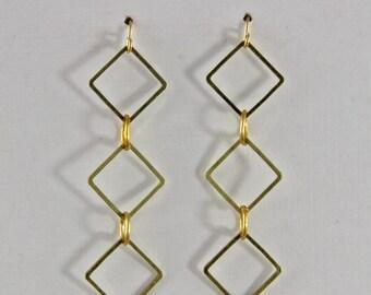 Vintage  Brass Small  Dangle Earrings Geometric Earrings