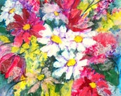Acrylic Collage Colorful Bouquet Flowers on Canvas by Artist Martha Kisling