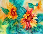 Bold Colorful Sunflower Painting by Watercolor Artist Martha Kisling