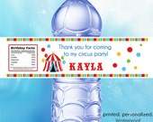 Personalized Big Top Circus Tent Waterproof Water Bottle Labels - Personalized Stickers, Party Favor Labels - Set of (25)