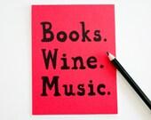 Books Wine Music 10 cards stationery bff birthday