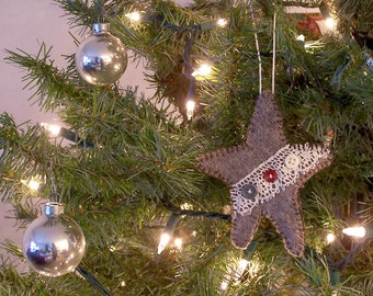 Lace and Buttons Star Ornament