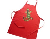 kids apron red Gecko lizard apron 7-10 years personalised