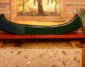 Canoe wood carving 4ft. Chainsaw art wall hanging green or YOU pick color picture holder rustic lodge art lake home decor indoor or outdoor