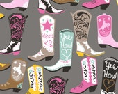 SALE! Square Dance in Grey from Luckie for Blend Fabrics Cowboy Boot Fabric Maude Asbury Fabric