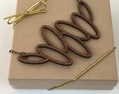 Wood Necklace, Walnut Laser Cut Oval Necklace