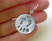Pro Life Precious Feet  Hand-Stamped Brushed Aluminum Charm, Baby Footprints Silver Charm