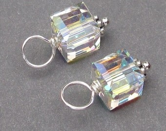 Swarovski Crystal AB Cube Charms,  Wire Wrapped Bead Dangles, Birthstone Charms, Interchangeable Pendants, Interchangeable Jewelry