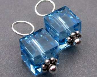 Aquamrine Swarovski Crystal Cubes, Aquamarine Birthstone Charms, Interchangeable Earrings, Interchangeable Jewelry, Bead Dangles
