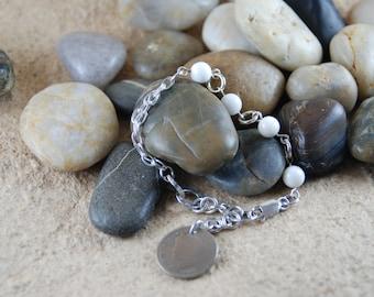 Sterling Silver & White Shell Bead Bracelet