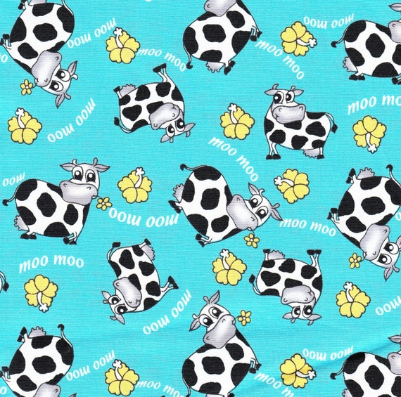 Items similar to fabric cows moo moo cute baby kid fabric for Cute baby fabric prints